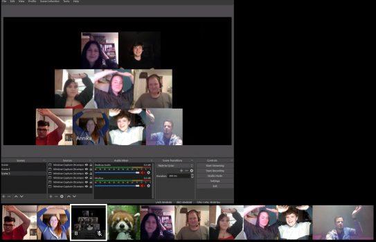 Menschenpyramide im Online Escape-the-Room